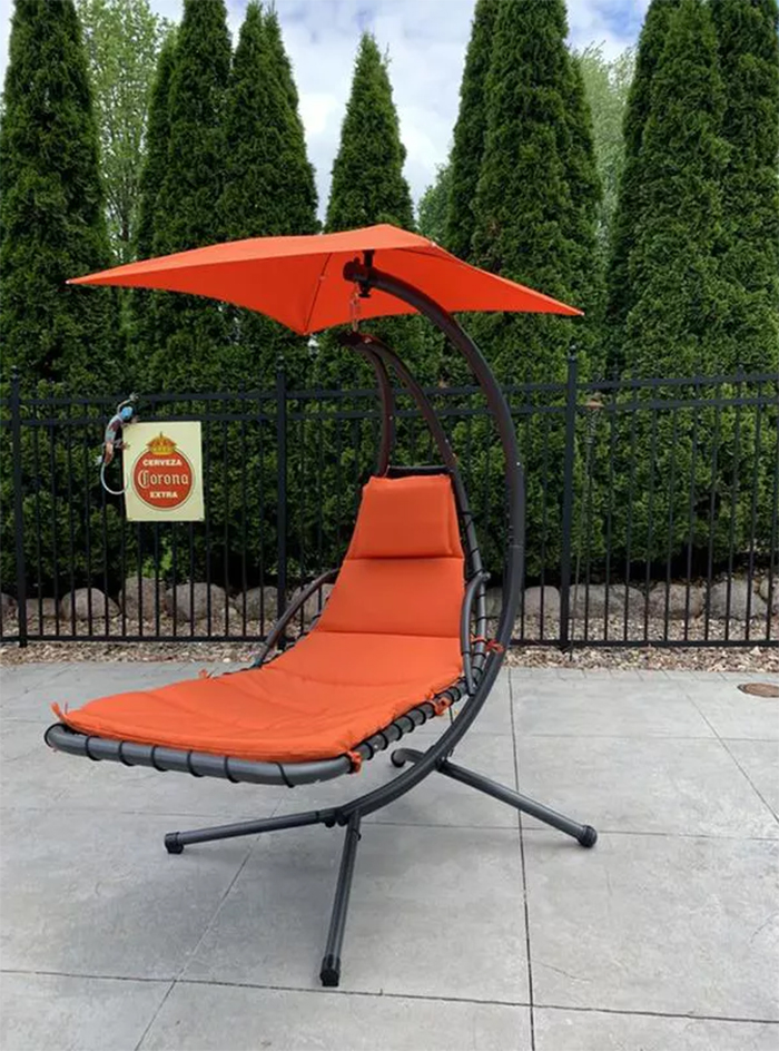 hanging curved chaise lounger swing chair