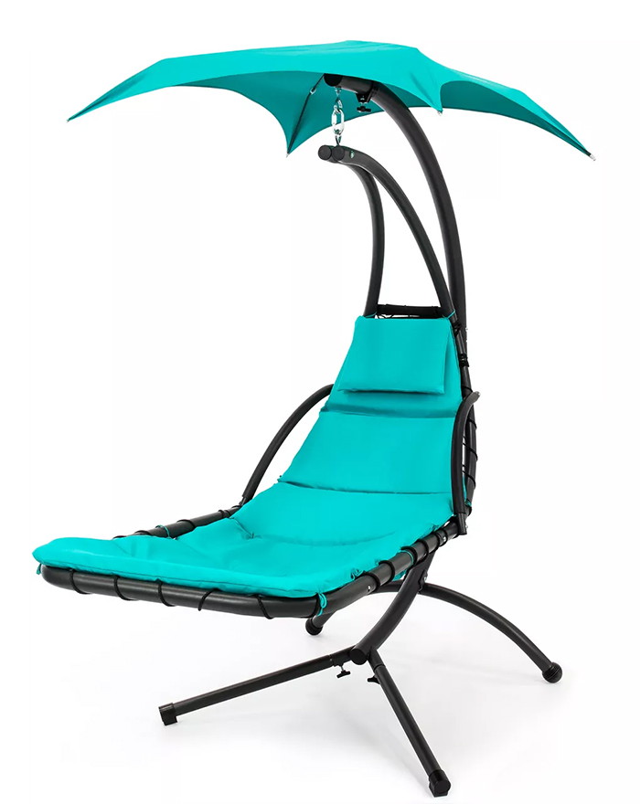 hanging curved chaise lounger teal