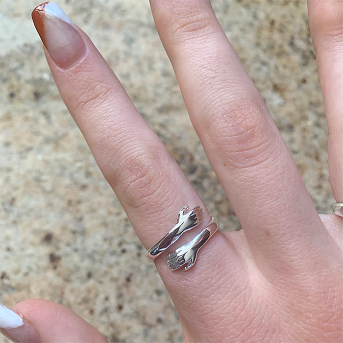 hug ring sterling silver