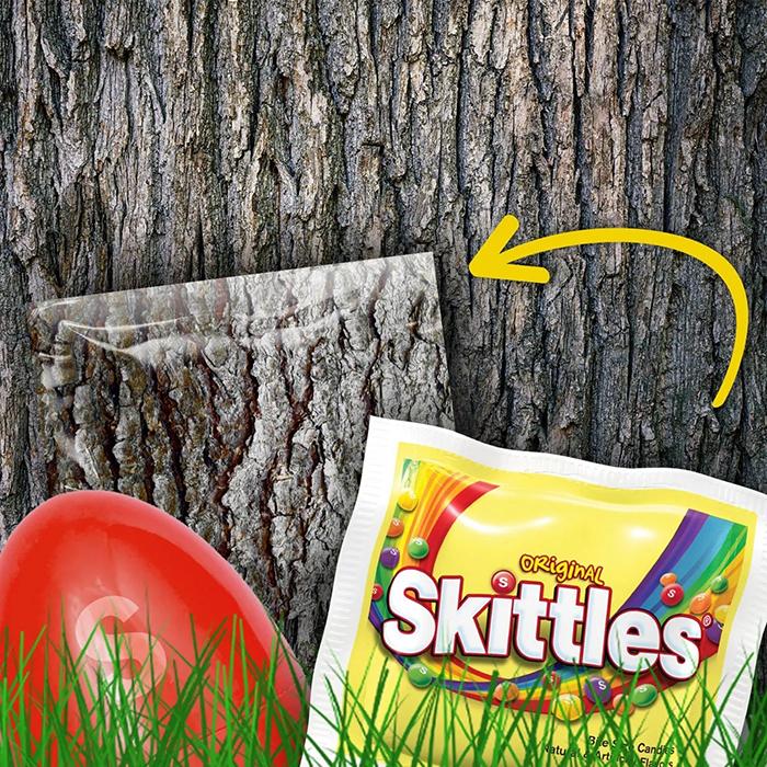 impossible egg hunt skittles camouflage packaging tree bark