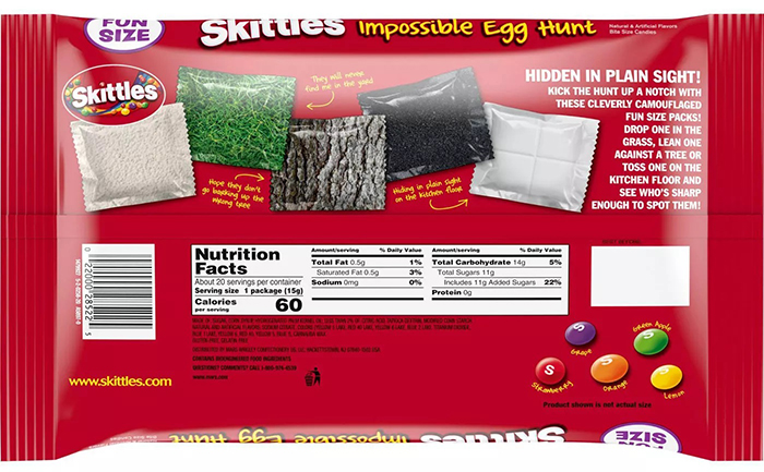 impossible egg hunt skittles packaging back