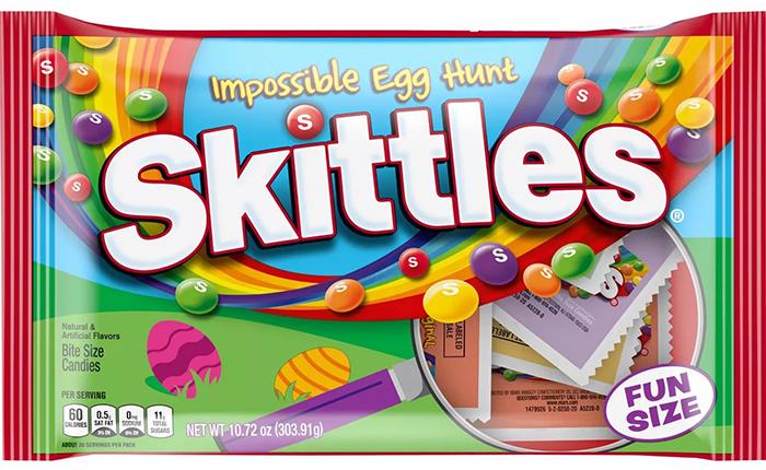 impossible egg hunt skittles packaging front