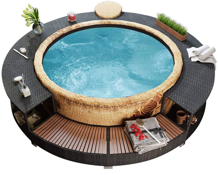 inflatable hot tub surround structure black