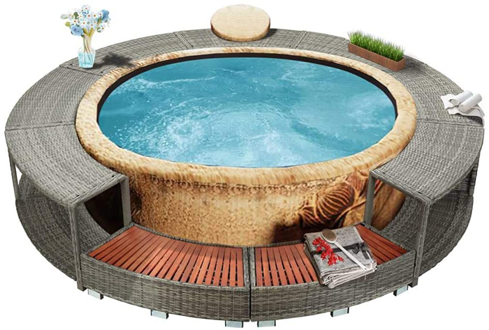 inflatable hot tub surround structure gray