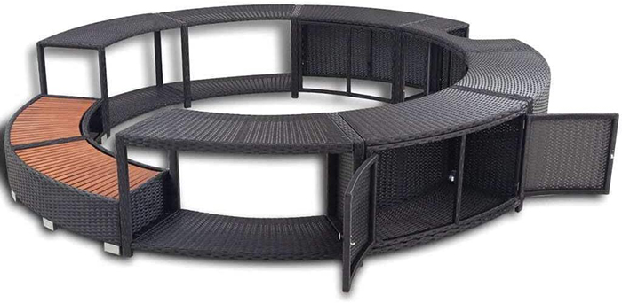 inflatable hot tub surround structure with storage