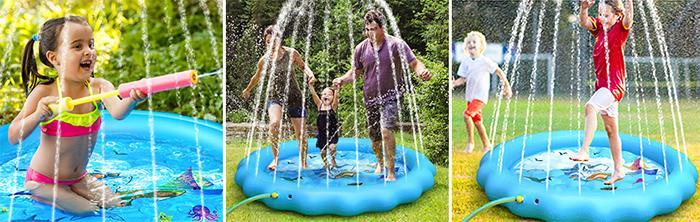 kiddie sprinkler pool backyard