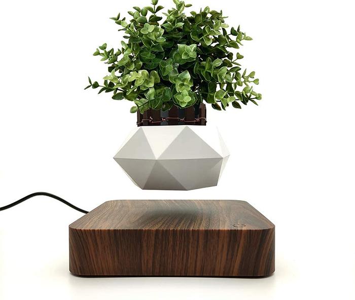 levitating planter dark brown platform