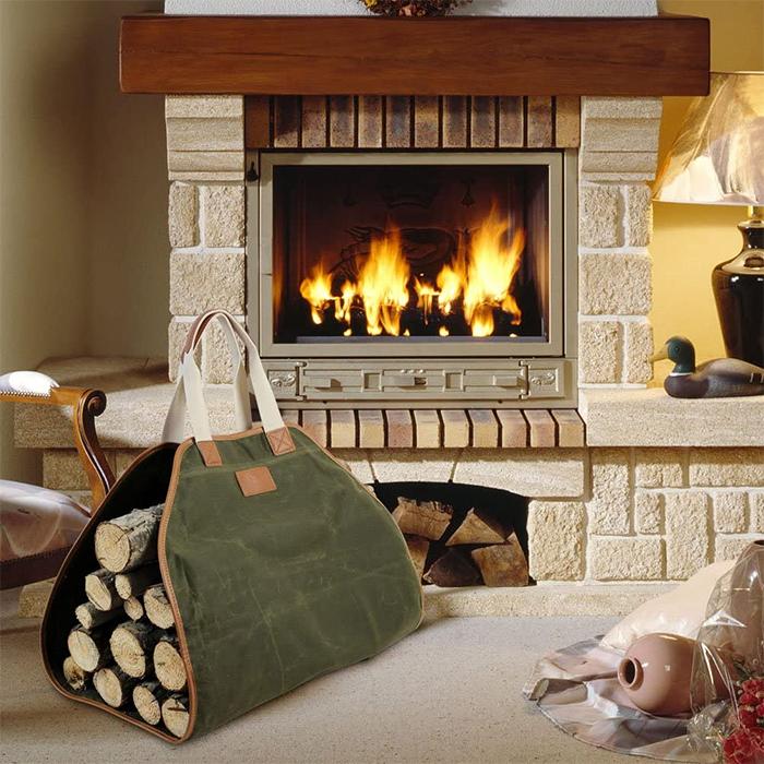 log bag canvas fireplace