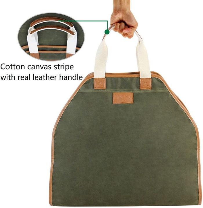 log bag leather handles