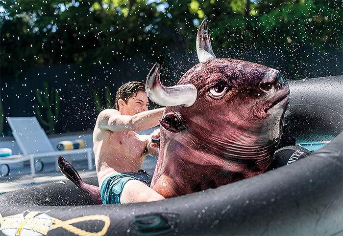 mechanical bull riding on water