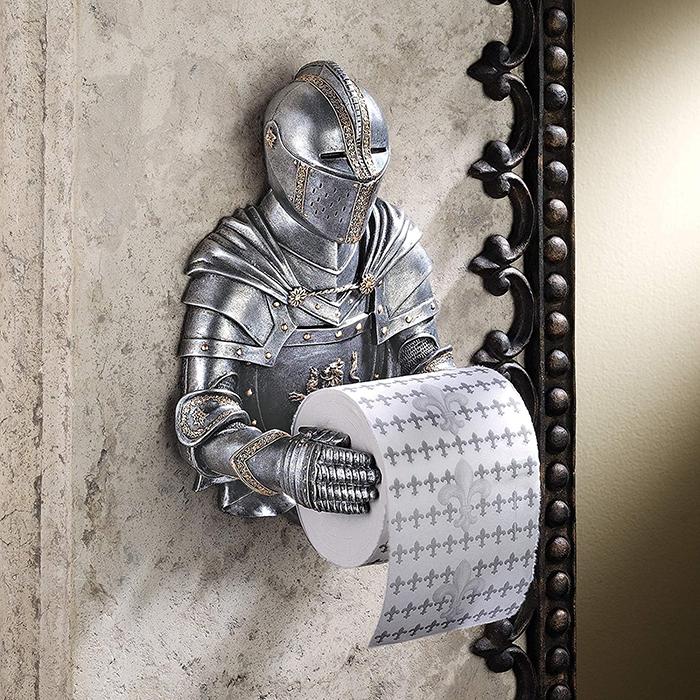 medieval knight bathroom toilet paper holder