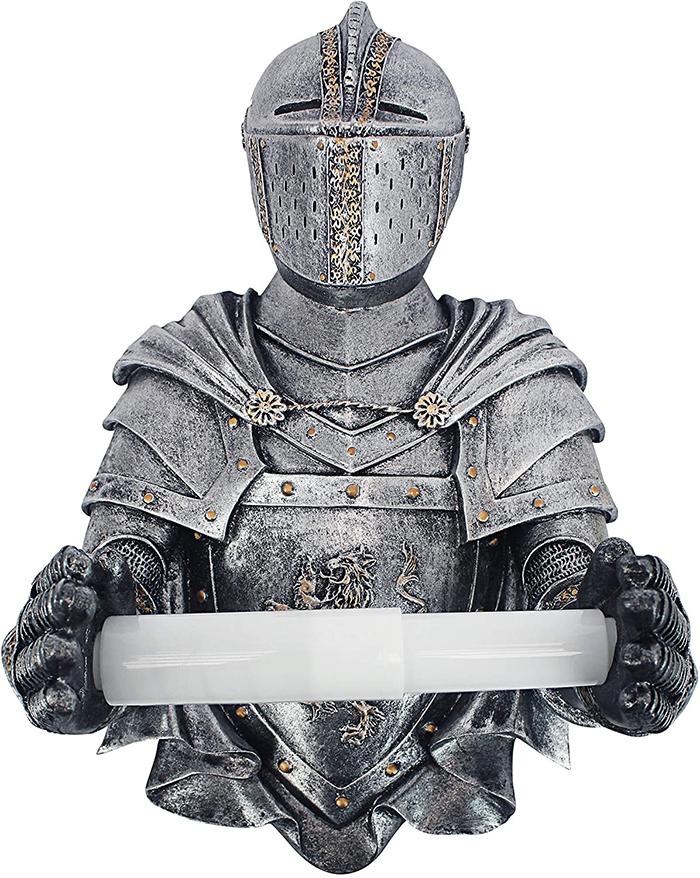 medieval knight toilet paper holder