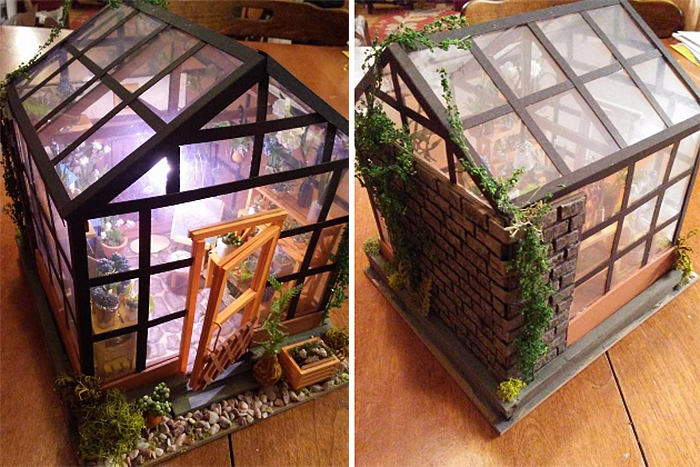miniature green house front and back