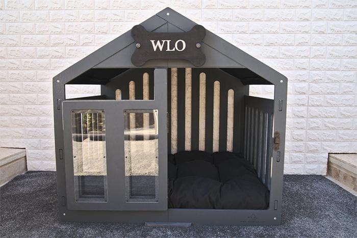 modern dog house grey finish