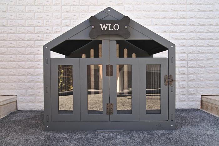 modern dog house grey wood finish