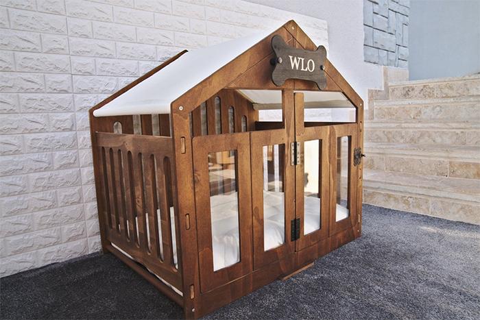modern dog house natural wood