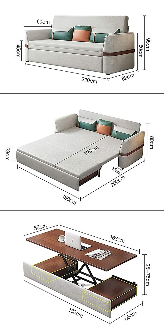 multifunctional sofa bed dimensions