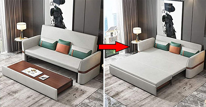 multifunctional sofa bed pull out desk