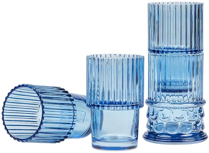 navy blue soda lime glass drinkware