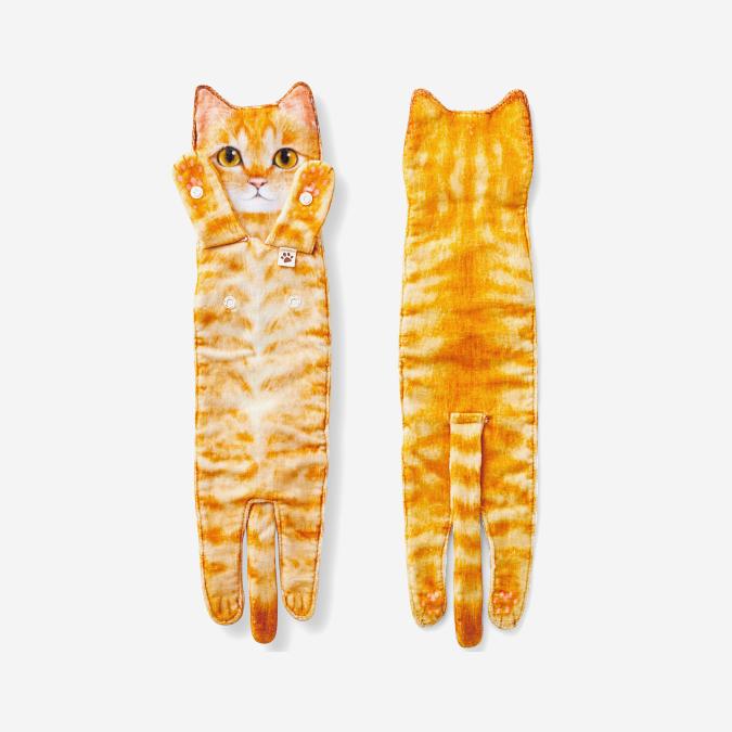orange tabby cat shaped towel
