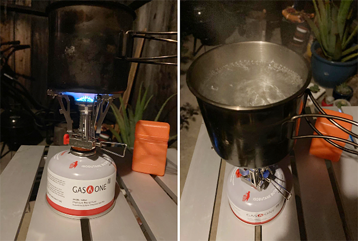 portable stove boiling water