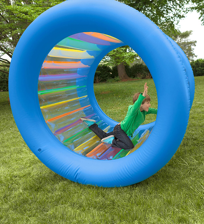 roll with it giant inflatable rolling wheel for outdoor play