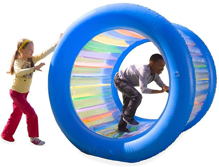 roll with it giant inflatable rolling wheel