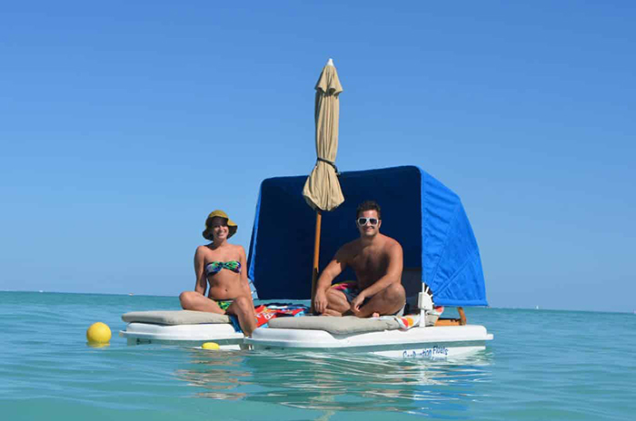 seaduction luxury beach recliners with canopy and umbrella attachments