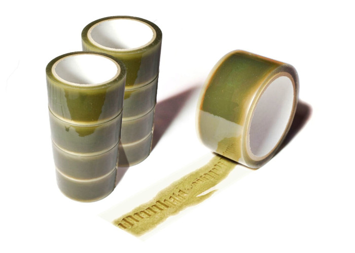 several rolls of ripped packing tape