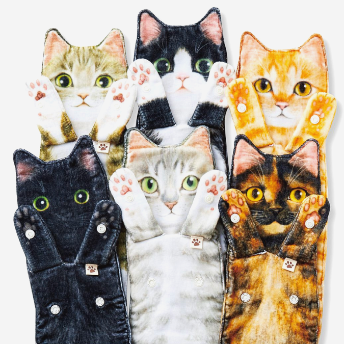 six different cat shaped towels