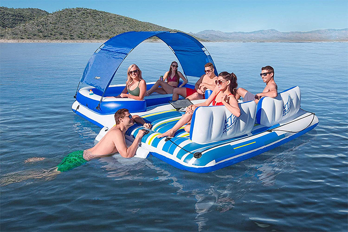 six-person floating island raft