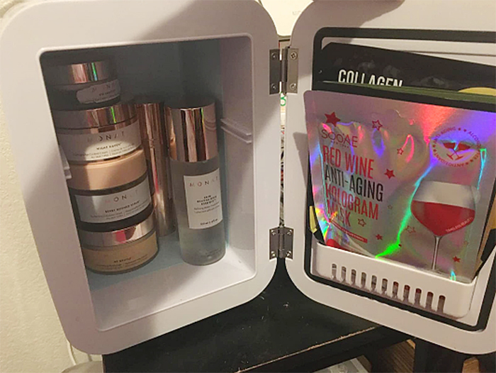 skincare products mini cooler