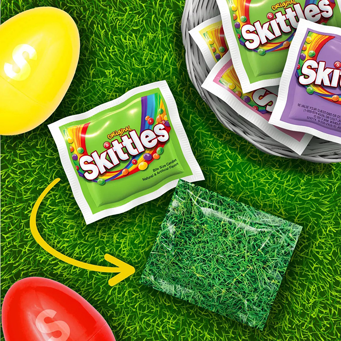 skittles easter pack camouflage packaging grass