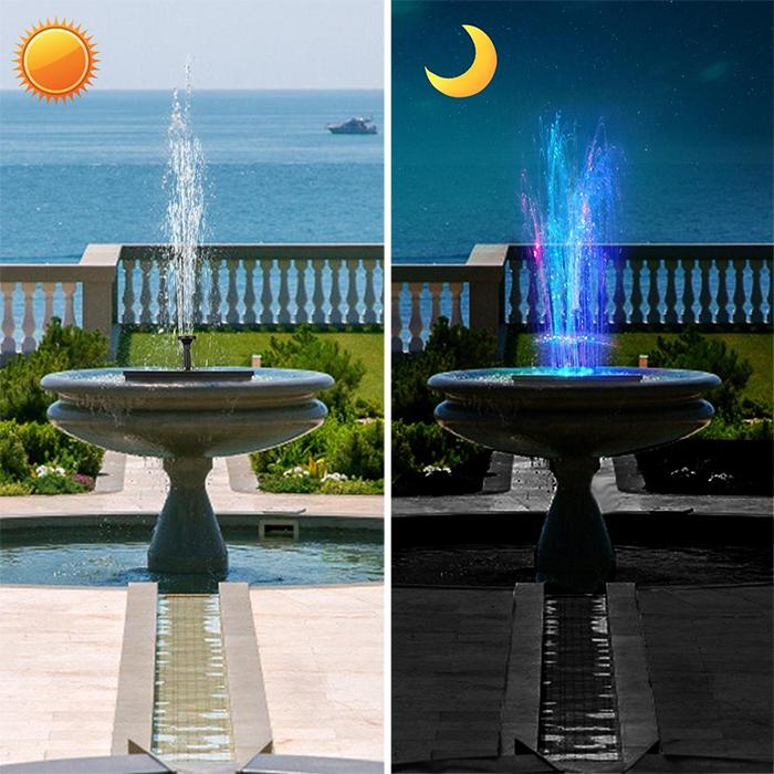 solar powered fountain pump led lights