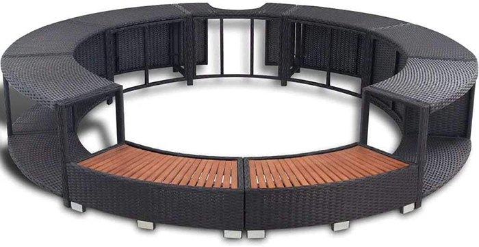 surround structure for inflatable hot tub black