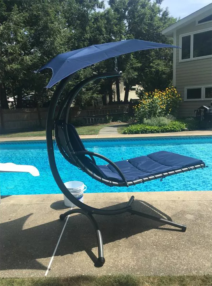 suspended chair poolside