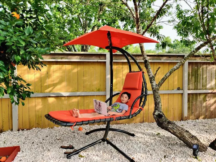 suspended chair with canopy outdoor