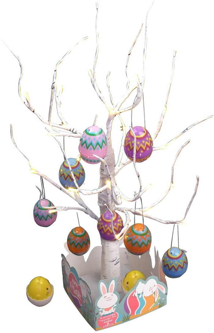 tabletop easter egg tree with painted eggs