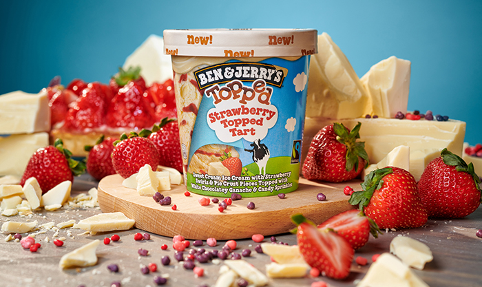 topped strawberry topped tart ice cream pint