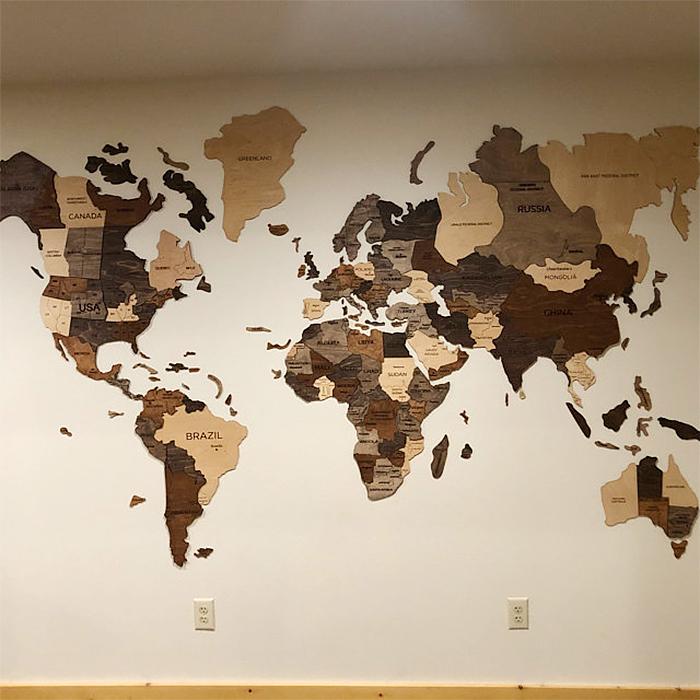 wooden 3d map basic multicolor