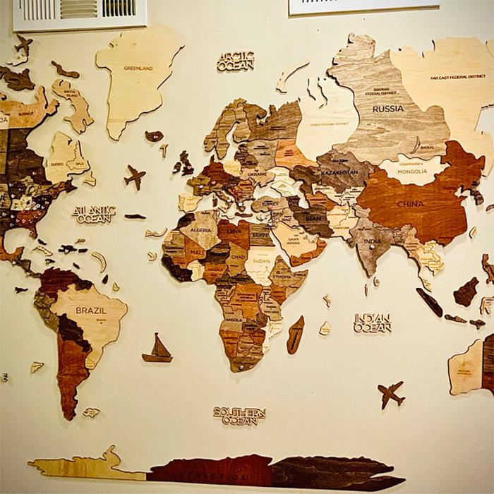 wooden 3d map multicolor