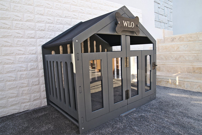 wooden canine home grey finish