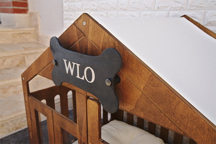 wooden canine home name plate