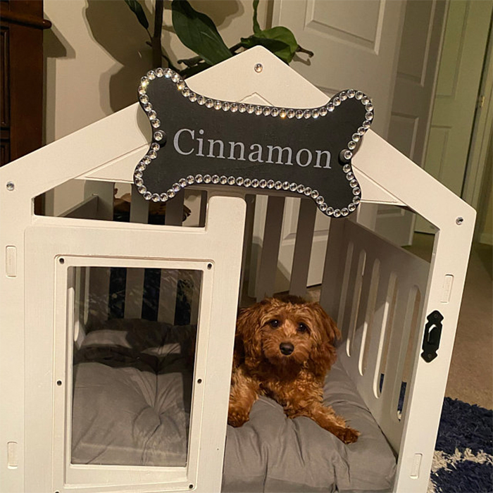 wooden canine home white wood finish