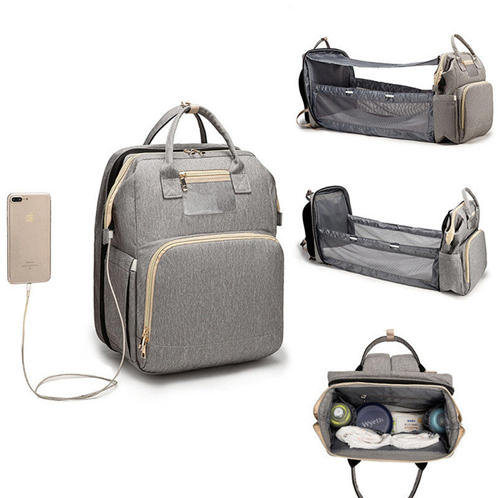 2-in-1 nappy backpack gray