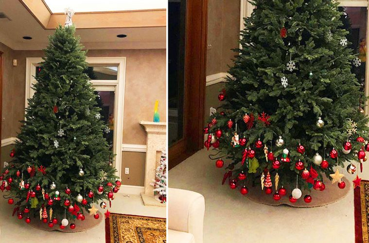 Half-Decorated Christmas tree