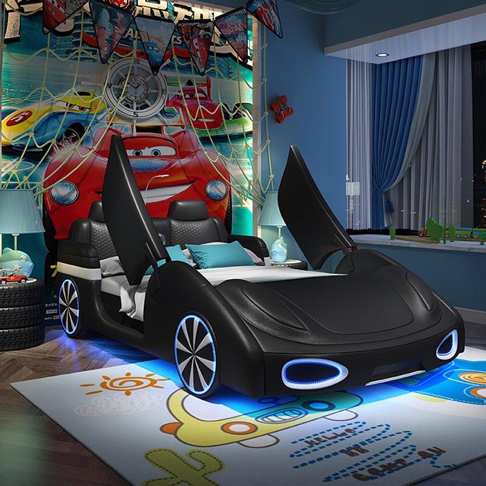 adult race car bed black with scissor doors
