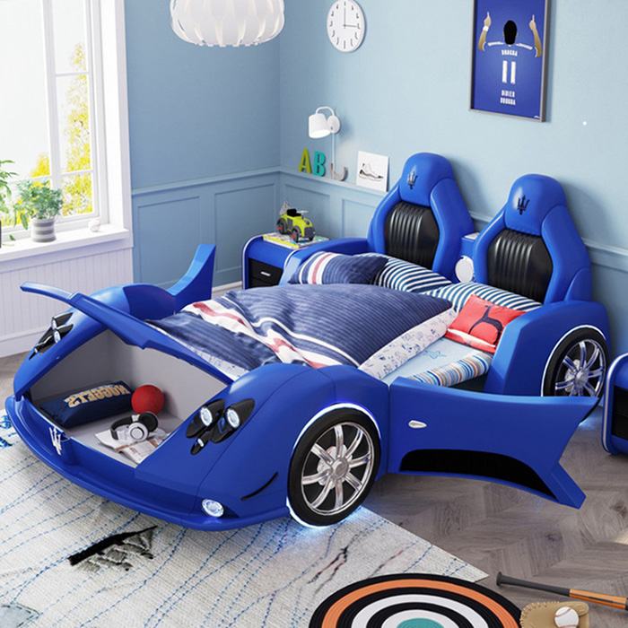 adult race car bed blue with hood storage
