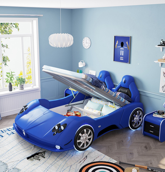 adult race car bed blue with storage