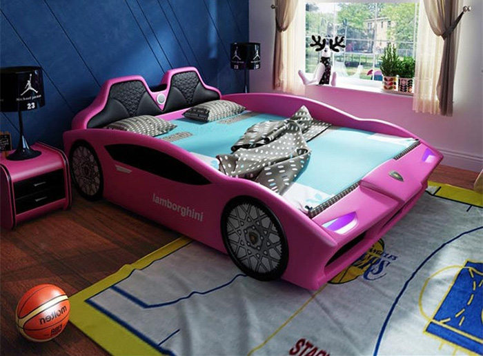adult race car bed pink